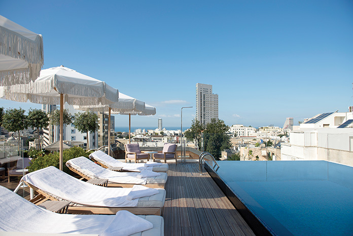 The view from the rooftop pool at the Norman hotel in Tel-Aviv