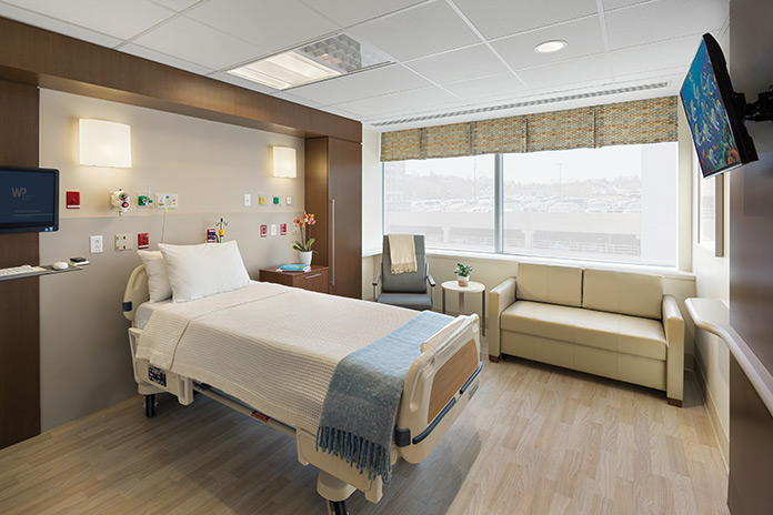 Patient room in White Plains Hospital