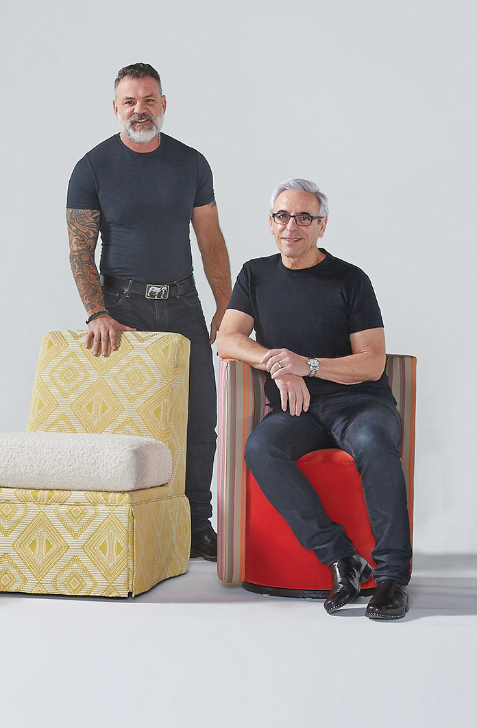 Co-Founders Bob Williams (left) and Mitchell Gold with the Annie and Poppy seats from their new Les Petite Seats collection.